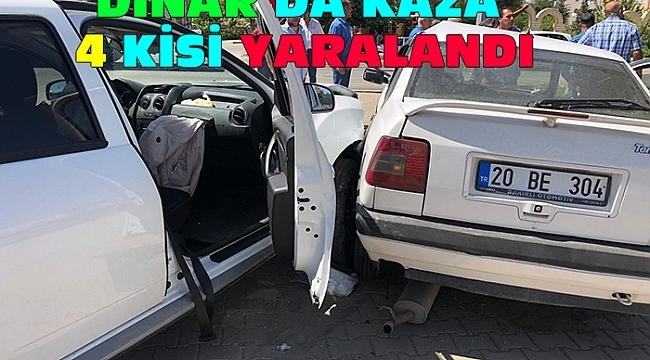 Dinar'da Trafik Kazası 4 Yaralı