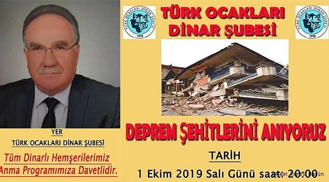 Dinar'da Deprem Şehitlerini Anma