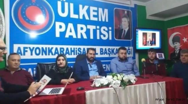 Ülkem Partisi Afyonkarahisar il Başkanlığı basın açıklaması yaptı