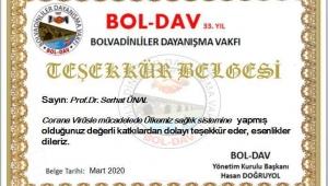 BOL-DAV'DAN PROF.DR.SERHAT ÜNAL'A TEŞEKKÜR BELGESİ.!