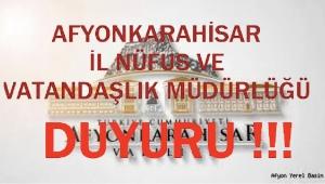 NÜFUS İL MÜDÜRLÜĞÜNDEN DUYURU.!!