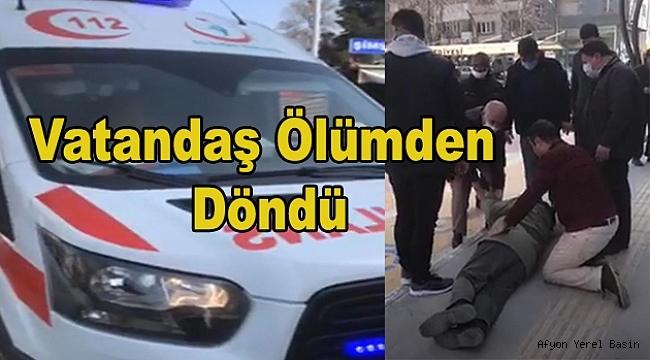 Dinar'da bir vatandaş baygınlık geçirerek yere düştü
