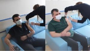 Kaymakam Bilici ve Başkan Koyuncu aşı oldu