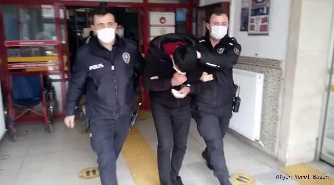 Afyon'da polise zorluk çıkaran 3 zanlı tutuklandı
