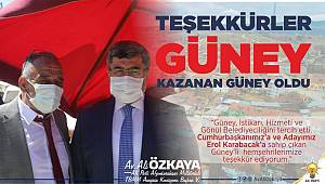 Ali Özkaya'dan Teşekkür Mesajı