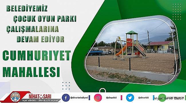 Dinar Belediyesi çocuk oyun parkı çalışmalarına devam ediyor