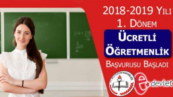 2018-2019 Yılı ücretli öğretmenlik Başvuruları