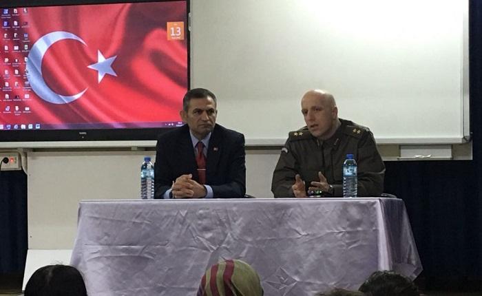 Dinar İlçe Jandarma Komutanı üst. Teğmen Serkan Ateş,dinar Mehmet çavuş Anadolu Lisesinde