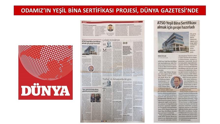 Tso'nun Projesi Dünya Gazetesi'nde
